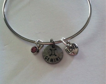 LAST ONE Gemini Astrological Sign Silver Bangle