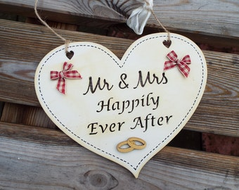 Mr &Mrs HAPPILY EVER AFTER - wooden heart gift plaque, hand-painted, laser-cut. Ideal wedding or anniversary gift