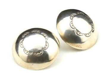Vintage Navajo Sterling Silver Round Dome Earrings Stamped Design Soutwestern