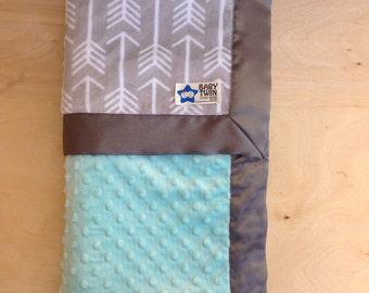Baby Blanket- Grey Archer/ Mint No Ruffle