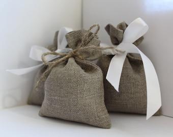 Linen gift bags - 50 pcs ~ French Grey - Natural linen bags - Wedding favor bags - Rustic wedding favor - Linen favor bag - linen small bags
