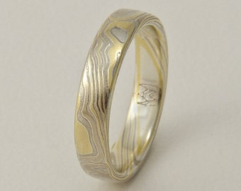 Custom Mokume Gane Ring -  14k palladium white gold, 18k yellow gold and silver in woodgrain pattern