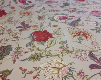 "Toile Floral fabric 110"" wide; Ceylan print fabric"