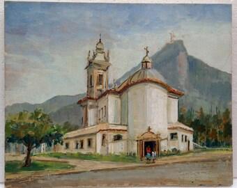 Reinaldo Manzke (1906-1980) Brazil Adobe Church Landscape Oil Painting