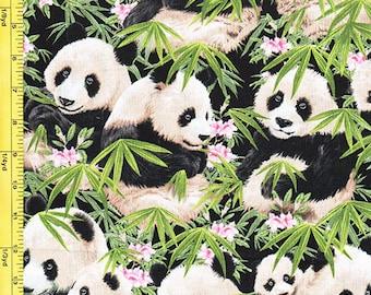 Japanese Asian Quilting  Fabric - Pandas & Bamboo