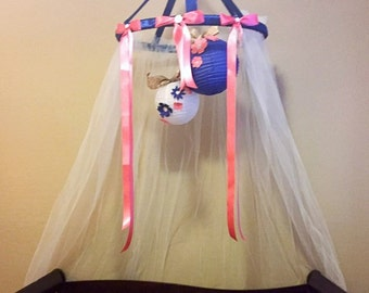 Navy coral crib canopy, bed canopy, reading nook tulle satin ribbon bling