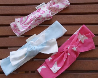 Top Knot Headbands: Pink damask, bright pink stars and soft blue - Set of 3