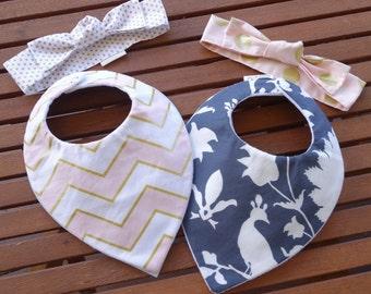 Baby bandana bibs AND Top knot headbands - SET