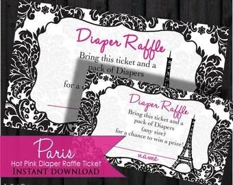 Paris Diaper Raffle Tickets, Hot Pink Black Damask, printable, digital file, DIY, for your Paris Baby Shower