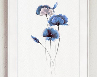 Blue poppies abstract art print of my original watercolor painting