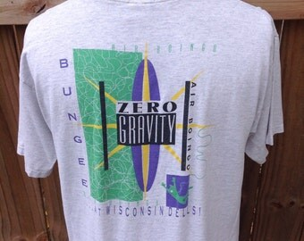 "Vintage 1990s XL (48) ""Air Boingo...At Wisconsin Dells!"" Souvenir t-shirt. ""Zero Gravity Bungee"" attraction at the Dells. Shirt has graphics"