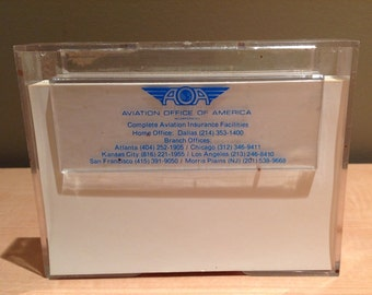 "Vintage Pair of Aviation Office of America (AOA) desk plastic memo-paper holder. ""Complete Aviation Insurance Facilities, Home Office: Dalla"