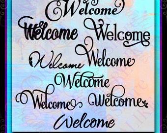 Welcome SVG Home Fall Door Flag Flower Garden Hanger Rug Mat Mom Sign Military Window Monogram Love Porch Flourish Mandala 2017 Life Decal.