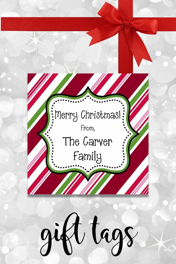 Cand Cane Stripes Christmas Gift Tags - Printable - Personalized Christmas Tags - Christmas Gift Tags