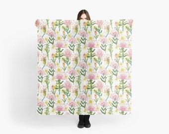 """Pincushion Protea - Large Scarf 55"""" square"""