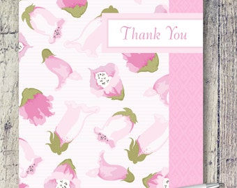 Blank Note Cards | Pink Foxglove Note Cards | Floral Thank You Card Set | Note Card Set