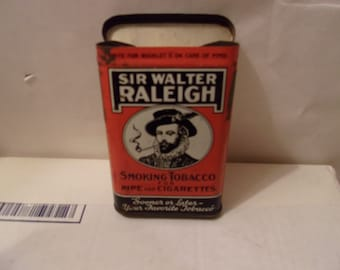 "Sir Walter Raleigh Pocket Tobacco Tin ""Sooner or Later - Your Favorite Tobacco"" with flip top lid"