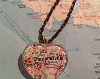Charlottesville, VA Vintage Map Pendant Necklace
