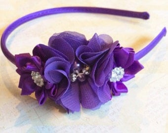 Hard purple headband,flower girl headband,wedding headband,flower girl,satin headband,girls headband