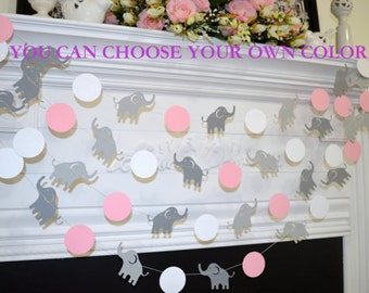 ELEPHANT baby shower garland, Pink Elephant garland, Grey Elephant, lucky Elephant decorations, pink and gray elephant shower decor