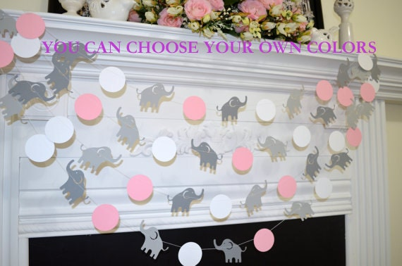 ELEPHANT Baby Shower Garland, Pink Elephant Garland, Grey