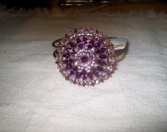 Vintage Purple Rhinestone Hinged Bracelet, Costume Jewelry, WAS 25.00 - 50% = 12.50