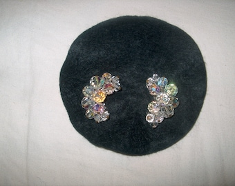 Vintage Costume Jewelry Crystal Glass Clipback Earrings, WAS 20.00 - 50% = 10.00