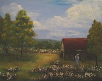 Old Barn and Cotton Field Original Painting