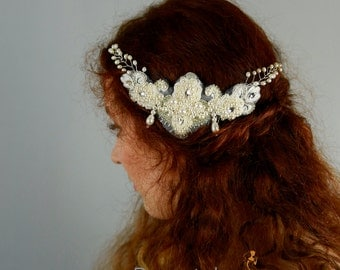 Bridal Hair comb, Wedding Hair comb, Ivory Wedding Hair Piece, Bridal Headpiece ,Vintage Style Pearl Headpiece, Bridal Hair piece- CHARLIE