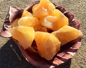 Juicy Orange Calcite Rough Raw Crystals - Feng Shui, Crystal Grid, Sacred Space Altar, Sacral Chakra Crystal Healing, Reiki