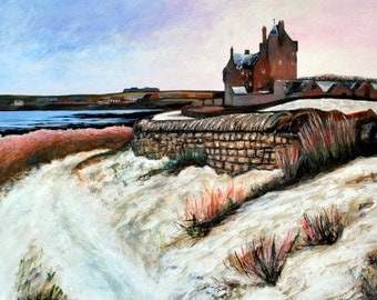Scottish Castle Original Painting of Ackergill Tower, Caithness. Scotland themed art. Scottish Highlands landscape painting. Castle in Snow