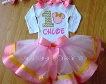 Minnie mouse inspired tutu set-chevron-pjnk and gold-pink tutu skirt