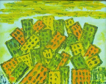 EARTHQUAKE 1 - Original Acrylic Painting 14x11 Framed No. 694