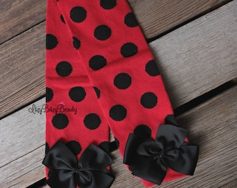 Ladybug Leg Warmers - Ladybug Bottoms - Red and Black , Polkadot -  Leg Warmers - Lady Bug Leg Warmers