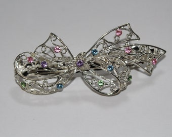 Cute Silver Bow Barrette with Pink Green Purple and Blue Rhinestones (FREE SHIPPING)