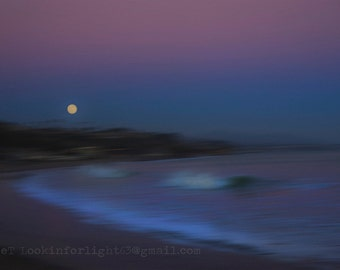 Moon Rise Ocean Photo / Full Moon+High Tide / Abstract Seascape / Surreal Pacific Ocean / Full Moon Rising over Ocean / Modern Ocean Photo