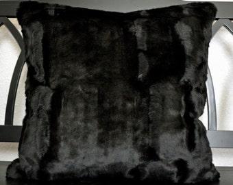 Faux Fur Pillow, Black Faux Fur Pillow, Fake Fur Pillow, 20x20, Decorative Pillow, Throw Pillow Ready to Ship