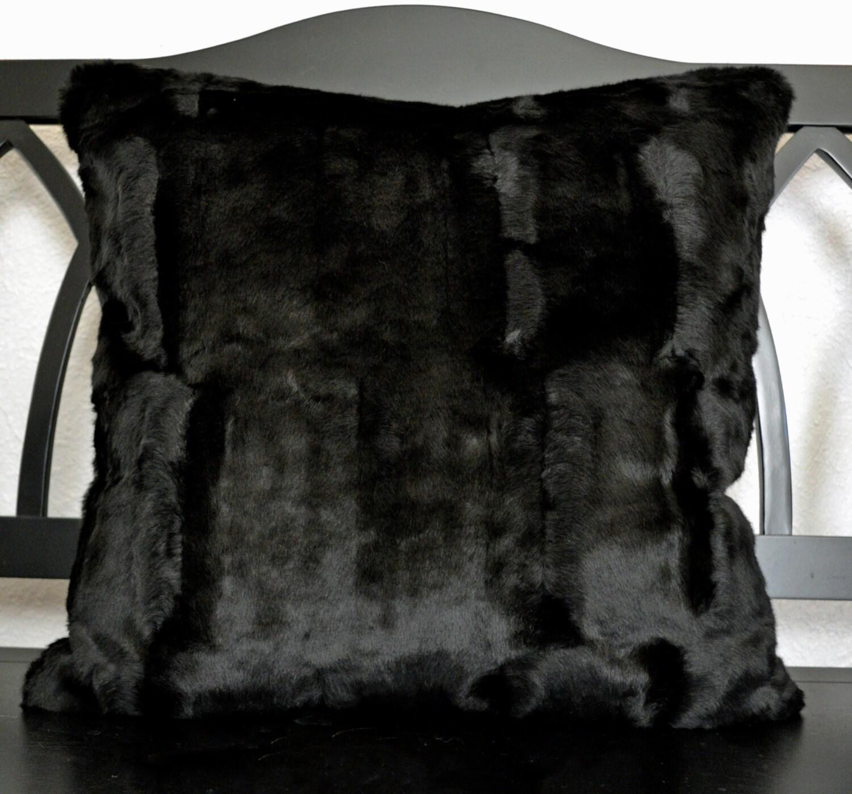 Faux Fur Pillow Black Faux Fur Pillow Fake Fur Pillow