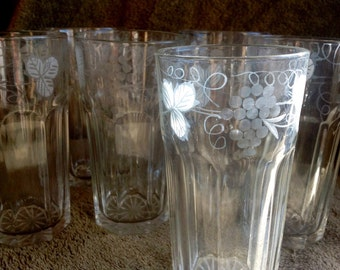 6 Vintage etched drinking glasses, clear with grape vines etched around the outer top, very good condition