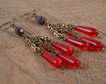 Bohemian Earrings, Chandelier Earrings, Red Earrings, Czech Glass, Gold Earrings, Red Chandelier Earrings, Long Beaded Earrings
