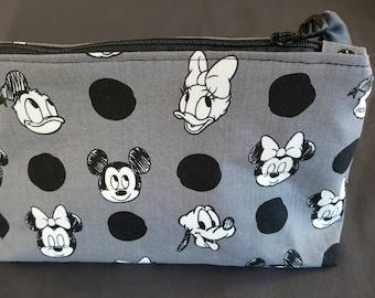 Mickey, Minnie, Donald, Daisy, Pluto and polka dots cosmetic bag, make-up bag,  Disney cosmetic bag, Disney make-up bag, zipper pouch.