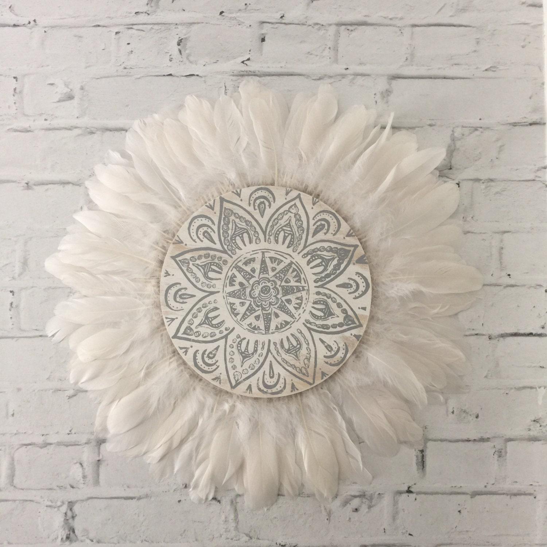Tribal Mandala White And Grey Feathers Round Wall Art