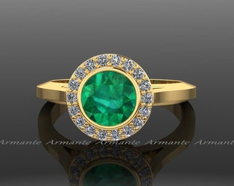 Emerald Engagement Ring, Emerald Ring Vintage, 14K Yellow Gold Natural Emerald And Diamond Vintage Style Ring, Halo Ring, RE4EM