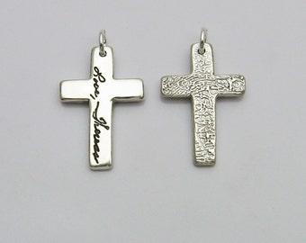 Double-Sided  Fingerprint Cross, Fingerprint Jewelry, Silver Fingerprint Cross, 2 Fingerprints, Fingerprint and Handwriting, Memorial Cross