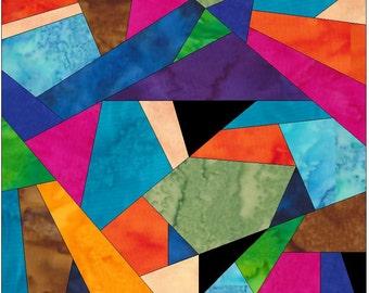 Complex Crazy Patch 13 Paper Foundation Piece Quilting Block Pattern PDF