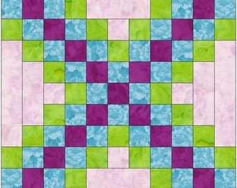Triple Irish Chain 15 Inch Block Paper Template Quilting Block Pattern PDF