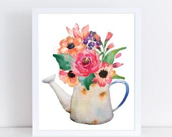 Watercolor Flowers Printable | Flower Bouquet Print | Floral Wall Art | Home Decor | Flower Bouquet Art Print | Nursery Print | Printable |