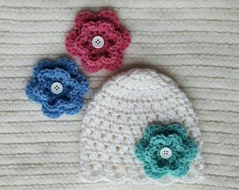 Baby hat for girls with interchangable flowers, crochet baby beanies, newborn photo prop, newborn hat, flower hats for girls, baby girl hat