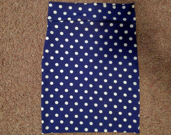 Navy Blue with White Polka Dots Pencil Skirt. Sizes Newborn to adult sizes