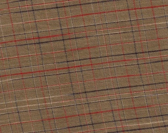 Mocha Brown Plaid Print Cotton Fabric / 34 inches